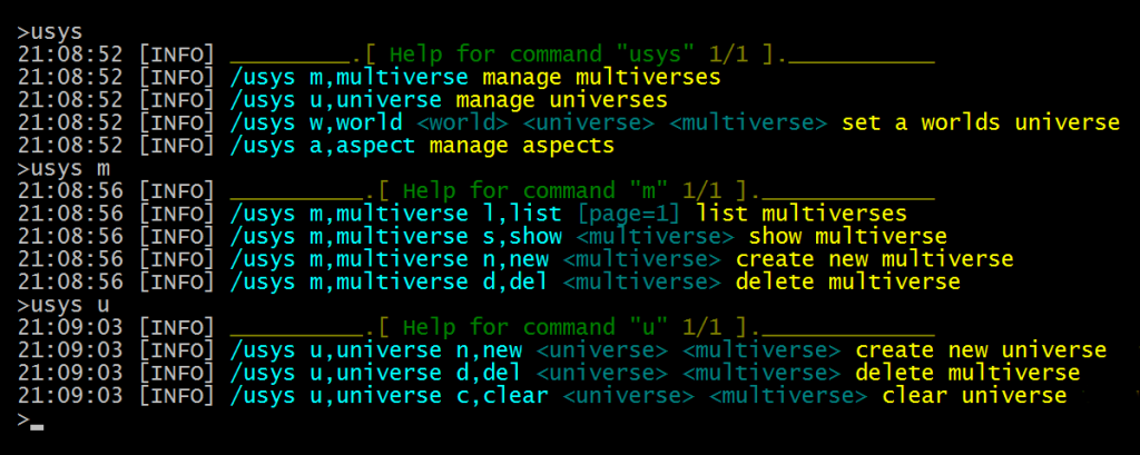 Some commands in a console window.